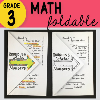 Doodle Notes - 3rd Grade Math Rounding Whole Numbers Foldable