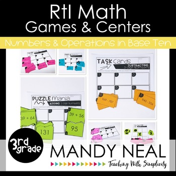 3rd Grade Math RtI Intervention Games and Centers for NBT