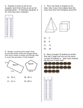 3rd Grade Math STAAR Ready Review Quizzes #1-4