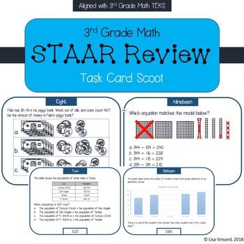 3rd Grade Math STAAR Review Task Card Scoot