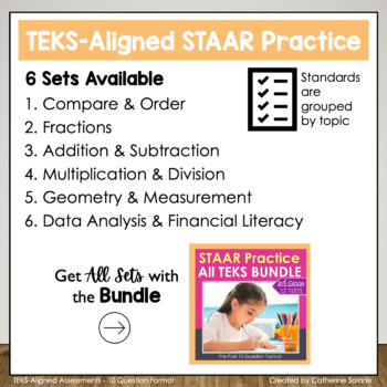 3rd Grade Math STAAR Test Prep BUNDLE (ALL TEKS Included) STAAR Review Practice