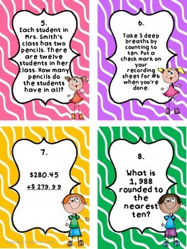 3rd Grade Math Review Task Cards (Part 1)