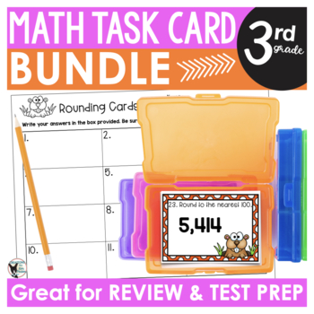 Math Scoot/Task Card Bundle (Contains 13 Sets) for Third Grade