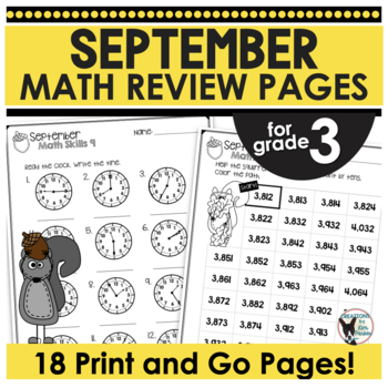 3rd Grade Math Skills (Print and Go) September Fun