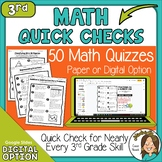 3rd Grade Math Skills Quick Checks with digital option Dis