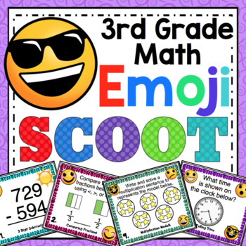 3rd Grade Math Skills Scoot - Emoji Themed Mega Math Bundle
