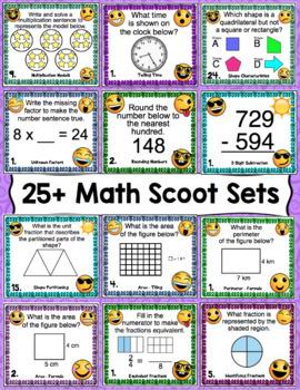 3rd Grade Math Skills Scoot - Emoji Themed