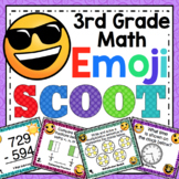 3rd Grade Math Skills Scoot - 3rd Grade Emoji Themed Math Activities