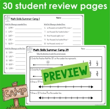 Monthly Math Practice End of the Year Print and Go
