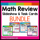 3rd Grade Math Review Slideshows and Task Cards Bundle