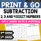 3rd Grade Math Sorts and Matching Printables: 2, 3, and 4 Digit Subtraction