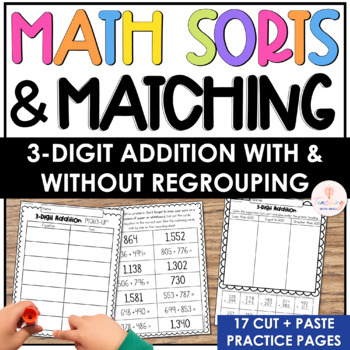 3rd Grade Math Sorts and Matching Printables: 3 and 4 Digit Addition