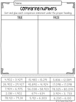 3rd Grade Math Sorts and Matching Printables: PLACE VALUE