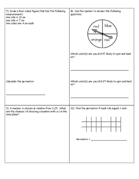 3rd Grade Math Spiral Review Boxes
