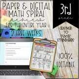 3rd Grade Math Spiral Review Printable and Digital FREEBIE