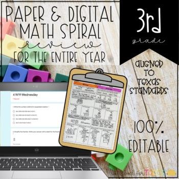 3rd Grade Math Spiral Review Homework Texas