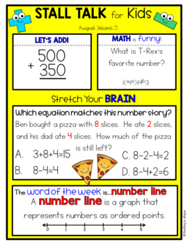 3rd Grade Math Spiral Review Posters- August Stall Talk