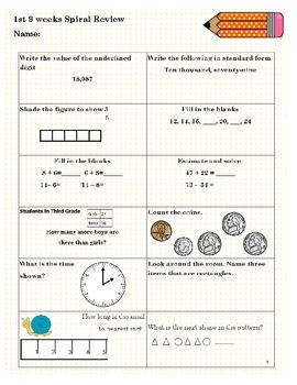 3rd Grade Math Spiral Review *Sample* SOL Aligned