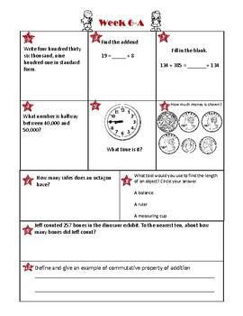 3rd Grade Math Spiral Review Week 6