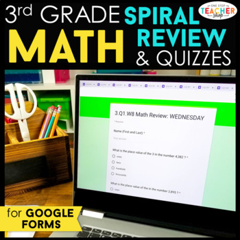 3rd Grade Math Spiral Review & Quizzes | Google Classroom Distance Learning