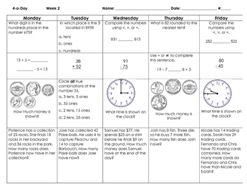 Updated for 2016 SOLs: Grade 3 - Math Spiral Review for Weeks 1-9
