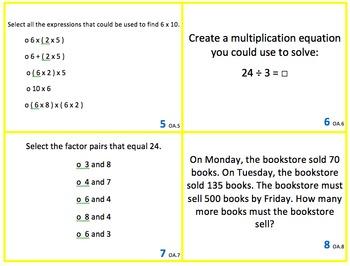 3rd Grade Math Standards Scoot Review for FSA