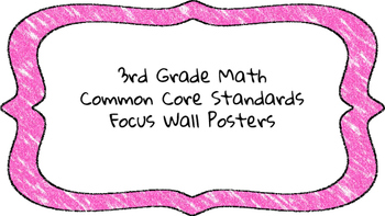 3rd Grade Math Standards on Pink Colored Frame