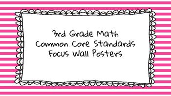 3rd Grade Math Standards on Pink Striped Frame