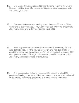 3rd Grade Math Story Problems (Addition & Subtraction)