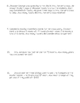 3rd Grade Math Story Problems (Multiplication & Division)