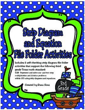 3rd Grade Math: Strip Diagram and Equation File Folder Activities (TEKS 3.5B)