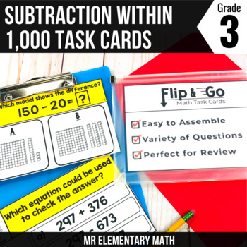 Subtraction within 1000 Task Cards 3rd Grade Math Centers