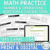 3rd Grade Math TEKS 3.4A 3.4B 3.4C 3.5A Add & Subtraction Sheets