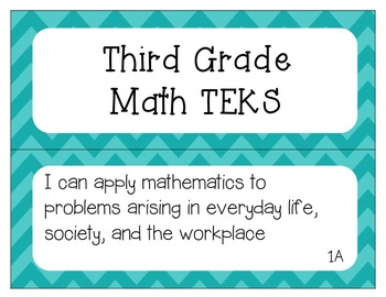 "3rd Grade Math TEKS ""I Can"" Statement Posters"