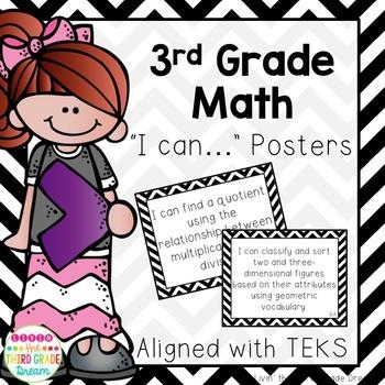 3rd Grade Math TEKS I Can... Statements (Black and White Chevron)