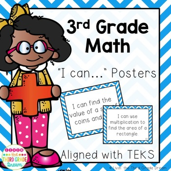 3rd Grade Math TEKS I Can... Statements (Blue Chevron)