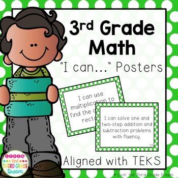 3rd Grade Math TEKS I Can... Statements Green Polka Dot