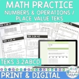 3rd Grade Math TEKS 3.2A 3.2B 3.2C 3.2D Place Value Skill Sheets