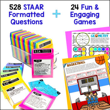 3rd Grade Math TEKS Bundle: Station Games,  STAAR Review, Common Assessments