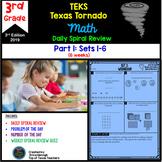 3rd Grade Math TEKS Texas Tornado: Daily Spiral Review & Quiz Part 1 (Sets 1-6)