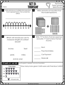3rd Grade Math TEKS Texas Tornado:Daily Spiral Review & Quiz Part 3 (Sets 13-18)
