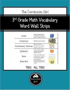 3rd Grade Math TEKS Vocabulary Word Wall Strips