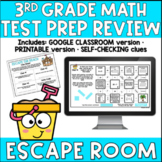 3rd Grade Math TEST PREP REVIEW Summer Escape Room DIGITAL and PRINTABLE