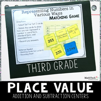 Third Grade Math Centers - Place Value, Rounding, and more - Set 1 - 3.NBT