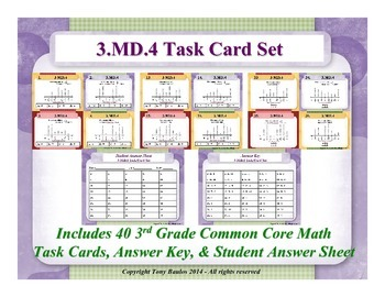 3rd Grade Math Task Cards 3 MD.4 Measurement and Data 3.MD.4