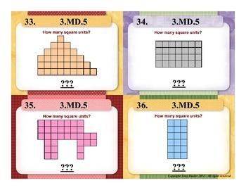 3rd Grade Math Task Cards 3 MD.5 Geometric Measurement 3.MD.5