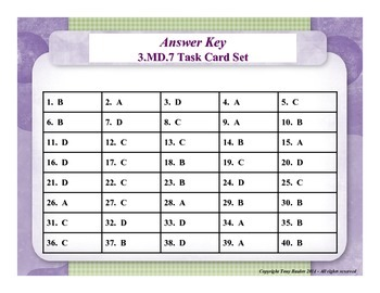 3rd Grade Math Task Cards 3 MD.7 Measurement and Data 3.MD.7