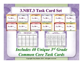 3rd Grade Math Task Cards 3 NBT.3 Multiply By Multiples Of