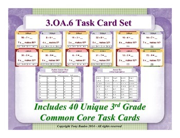3rd Grade Math Task Cards 3 OA.6 Division As An Unknown-Factor Problem 3.OA.6