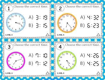 3rd Grade MD Task Cards Bundle: ALL Measurement & Data Task Cards Grade 3: 3MD